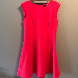 60's style sleeveless coral dress w flared skirt